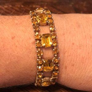 "7.5"" honey color rhinestone bracelet"